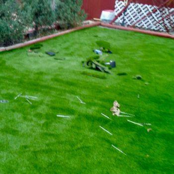 installing fake grass